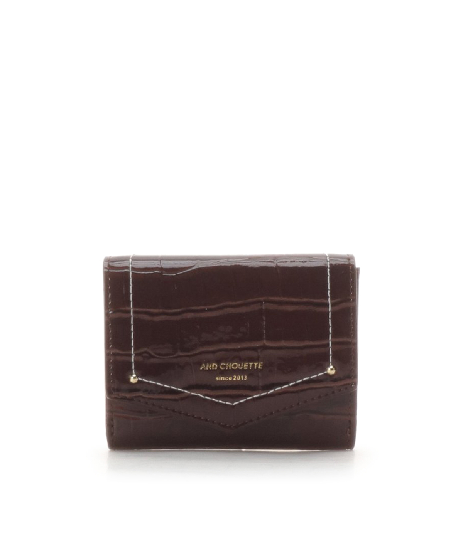 エナメルクロコ 三つ折り財布