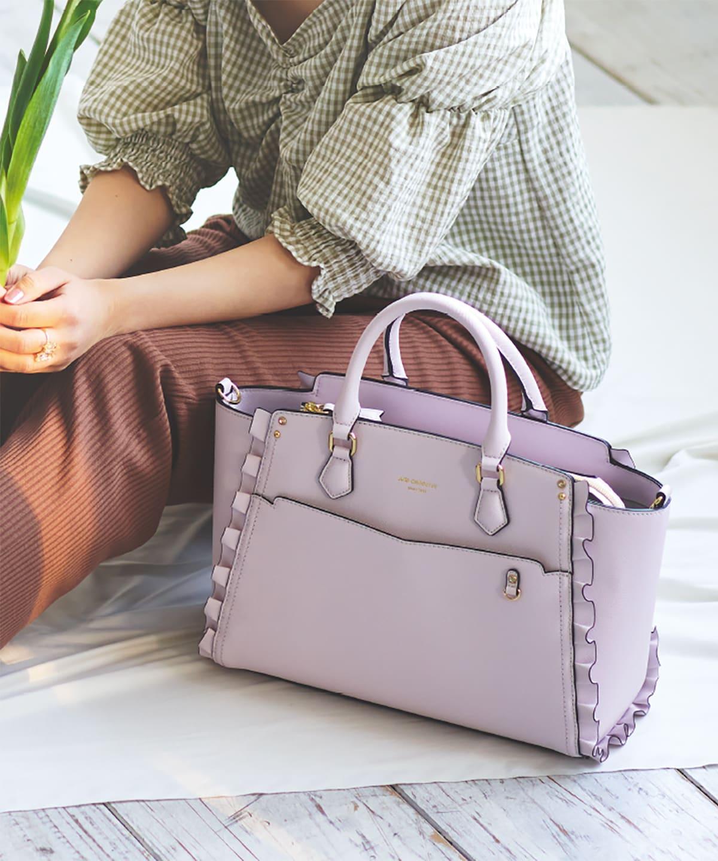 ★【推し事バッグ】クリアポケット付きトートバッグ【オタク・2way・普段使い・フリル・可愛いバッグ】